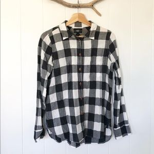 j. crew cotton plaid button up tee